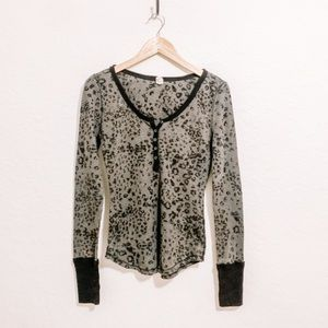 Free People Leopard Animal Print Henley Sweatshirt
